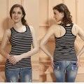 Racerback en forma de tanques apretados mujeres ' s sin mangas Tops de verano de algodón no camiseta de la manga del chaleco a rayas tamaño libre camiseta