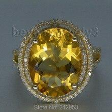 Овальные кольца 11x13 мм с натуральным цитрином и бриллиантами, твердое кольцо 14 К/585 Желтое золото, подлинный драгоценный камень, обручальное кольцо с большими камнями 2T018