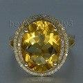 Oval 11x13mm Natural Citrino Anillos de Diamantes Sólido 14 K/585 Oro Amarillo de Compromiso De Piedras Preciosas Genuinas anillo Con Piedras Grandes 2T018