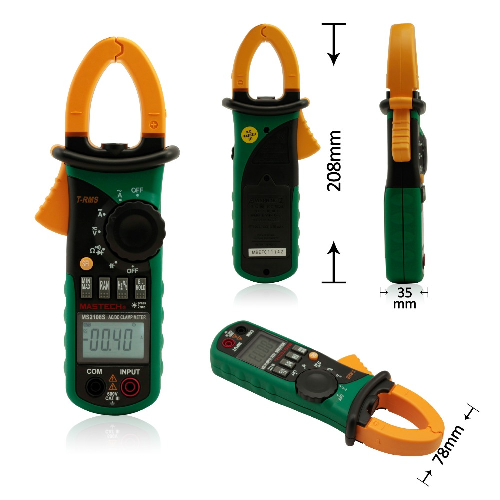 MASTECH MS2108S Digital AC DC Current Clamp Meter True RMS Multimeter Capacitance Frequency Inrush Current Tester VS MS2108 mastech my63 digital multimeter dmm w capacitance frequency
