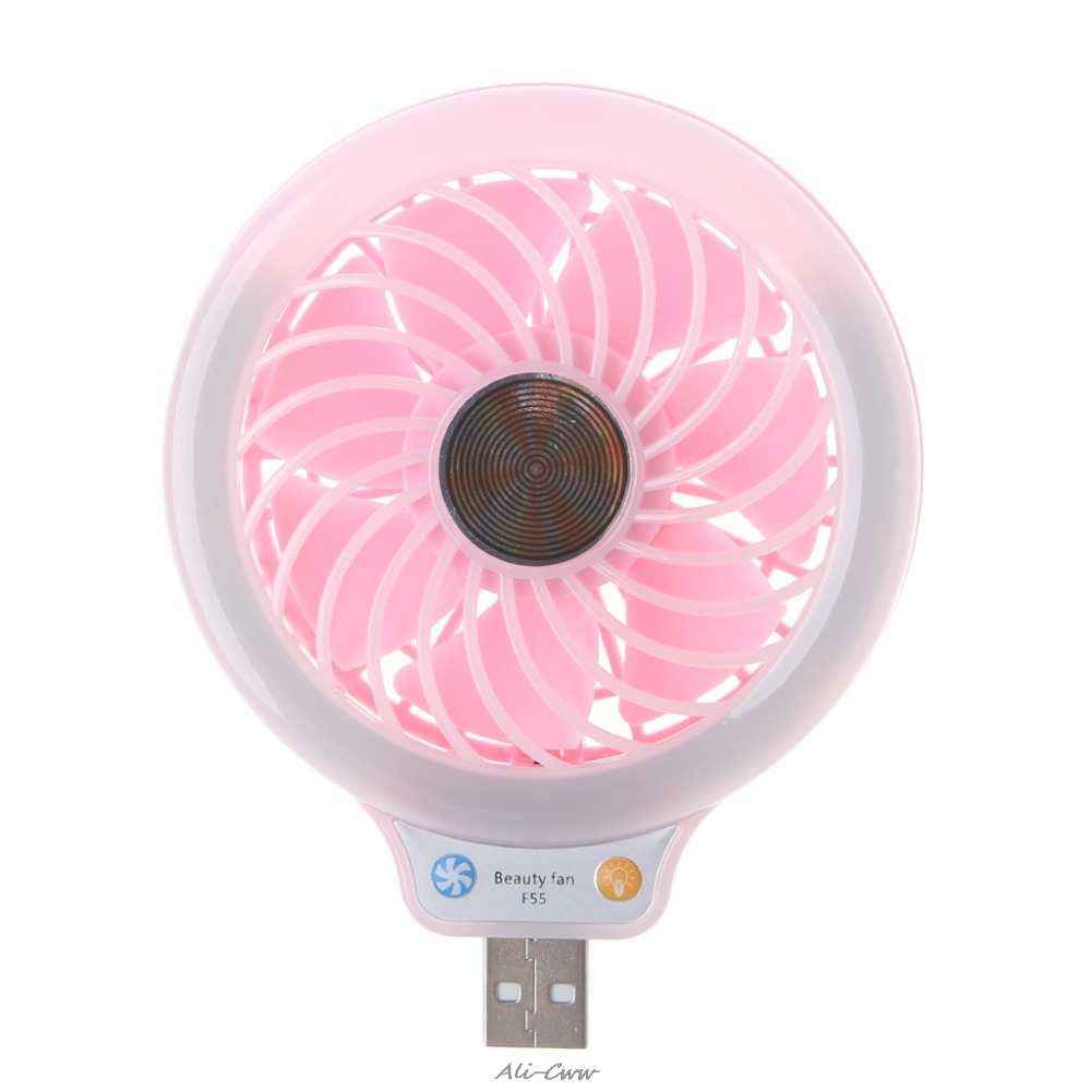 1Pc New USB Gadgets 5V Portable Mini 4 LED Light Desk USB Fan Quiet Operation For PC Laptop Notebook Blue/Pink High Quality