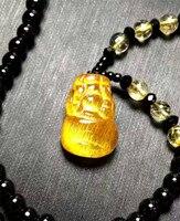 Fashion Women Men Powerful Pendant Dragon Pi Xiu Shape Genuine Natural Titanium Gold Rutilated Quartz Pendant