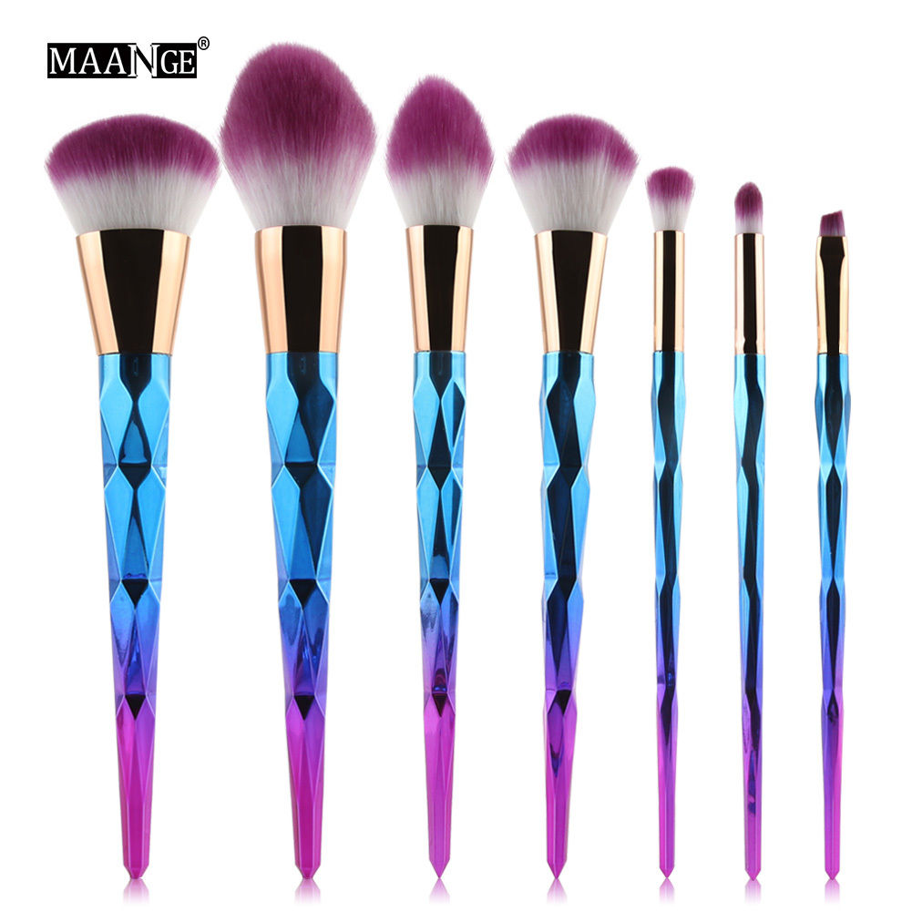 Maange 7pcs Makeup Brushes Set Eyeshadow Eyeliner Lip Brush Powder Foundation Tool Dazzling Bright Fire Purple Brushes 2017 new20pcs foundation eyeshadow eyeliner lip brush tool makeup brushes set powder new
