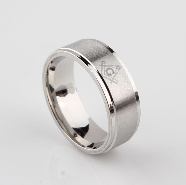 Sliver színes férfi ékszerek Fekete Zenekar Gyűrű Ingyenes Kőműves Szabadkőműves Masonic 316L rozsdamentes acél gyűrű méret: 7-13 Punk Cool