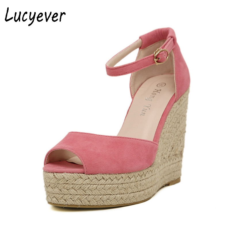 Lucyever Fashion Comfortable Wedges Sandals Women High Heels Platform Peep toe Bohemian Shoes Woman Summer Leisure Flip Flops phyanic 2017 gladiator sandals gold silver shoes woman summer platform wedges glitters creepers casual women shoes phy3323