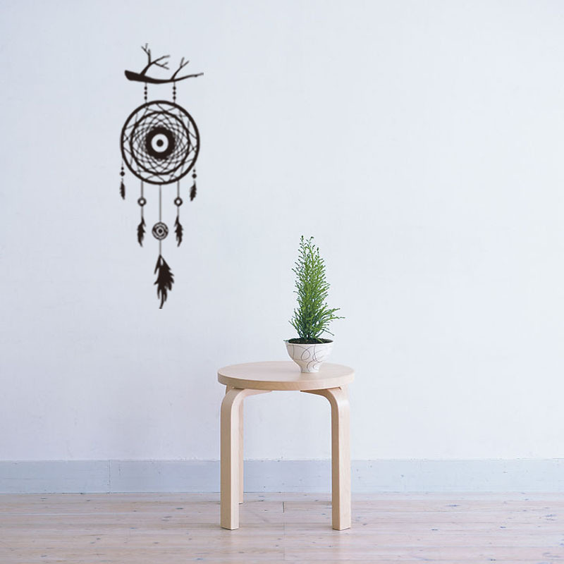 Wall Stickers Dream Catcher Feathers Wall Sticker Decal Mural Art Vinyl Decals Home Deco ...