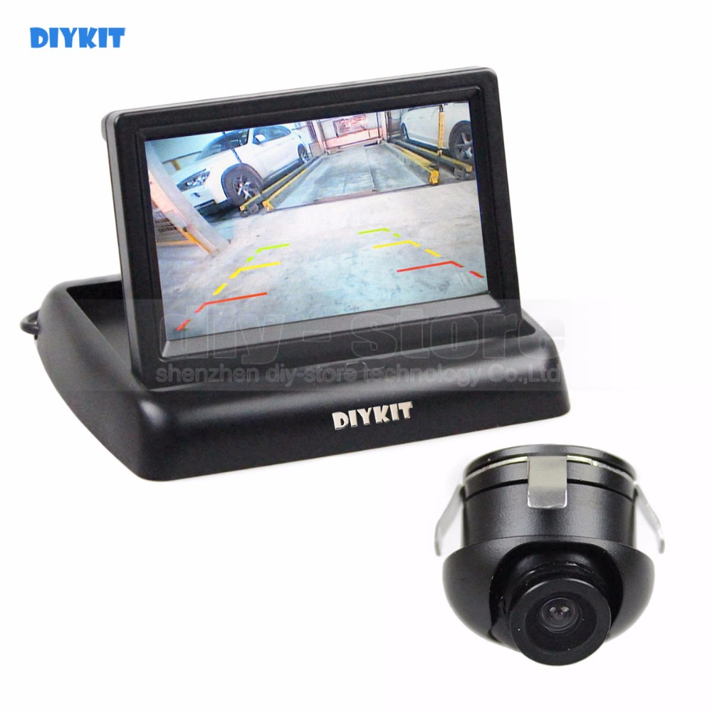 DIYKIT 4.3 inch Foldable LCD Car Reverse Rear View Monitor Car Monitor 2 Video Input + CCD Rear Front Size View Car Camera