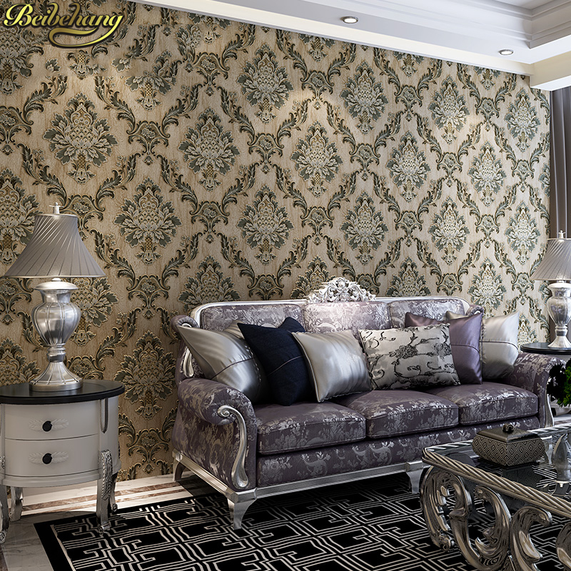 beibehang Embossed European retro wallpapers for living ...