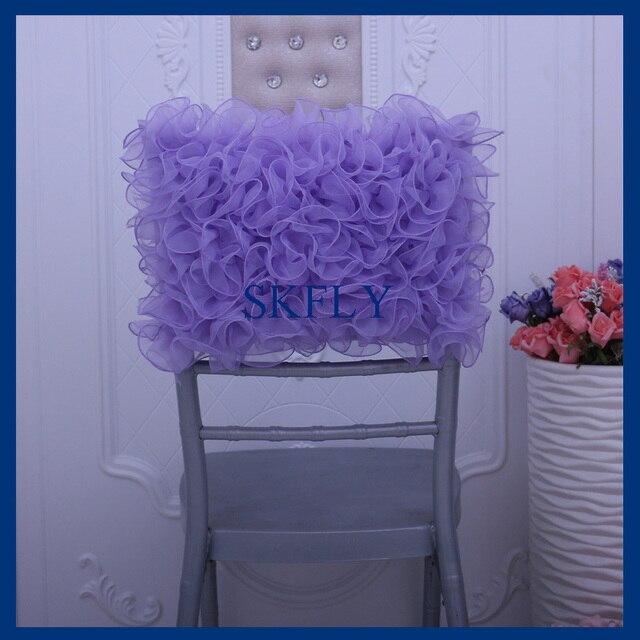 CH008E New Wholesale Fancy Wedding Ruffled Standard Chiavari Organza Light  Purple Lilac Half Chair Cover Chair