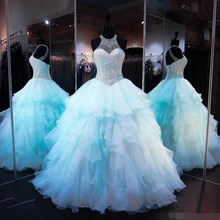 Light Blue Quinceanera dresses Ball Gown halter Crystal Beading Organza Ruffles Sweet 16 Plus Prom dress vestidos de 15 anos
