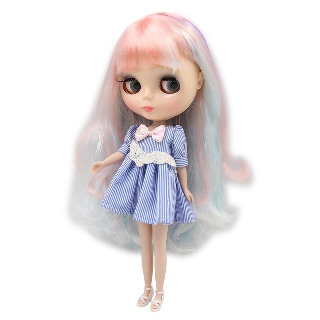 Factory Neo Blythe Doll White Purple Pink Blue Hair Regular Body 30cm