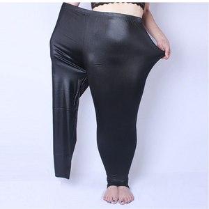 Image 2 - Leggings Vrouwen Nep Lederen Plus Size 5xL Grote Maten Vrouwen Hoge Taille Grote Slanke Legging Femme Stretch Skinny Broek Zwart leggins