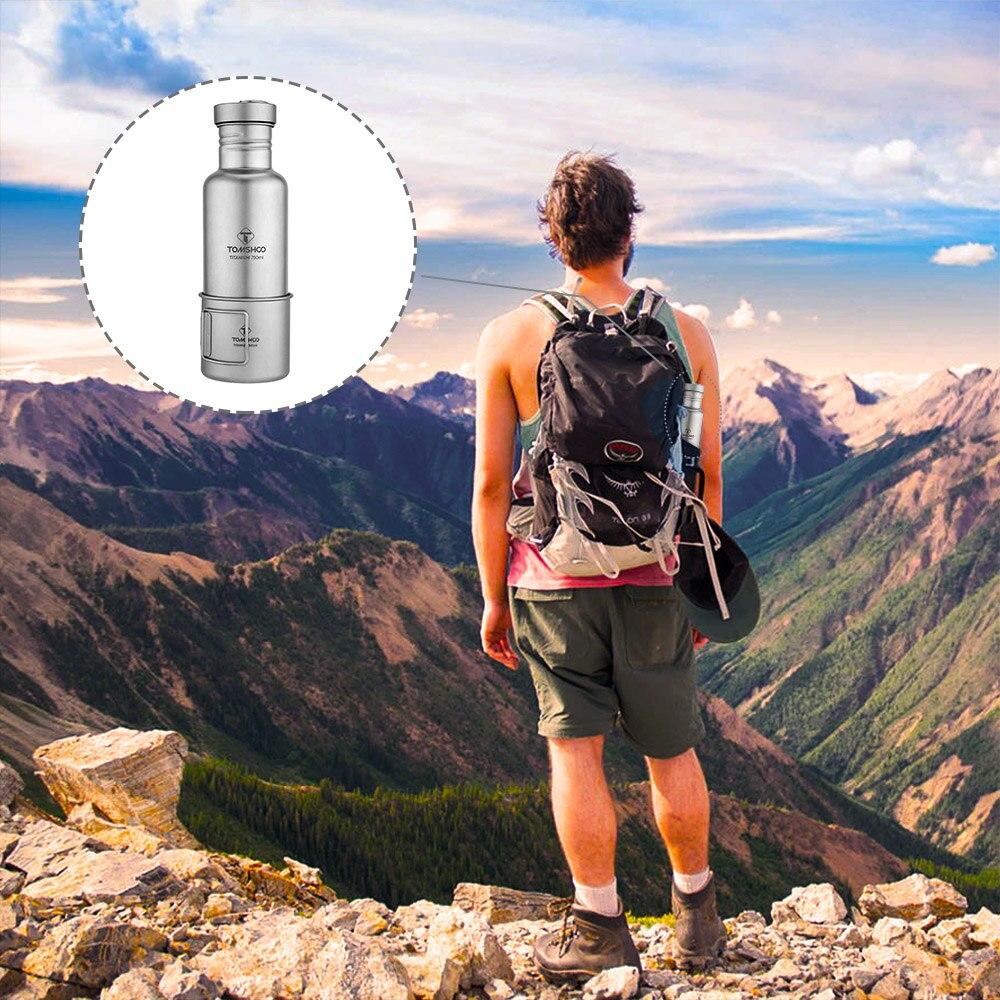 Lixada vaisselle d'extérieur 300 ml/750 ml bouteille d'eau en titane avec couvercle en plastique Extra-léger Camping en plein air randonnée cyclisme - 4