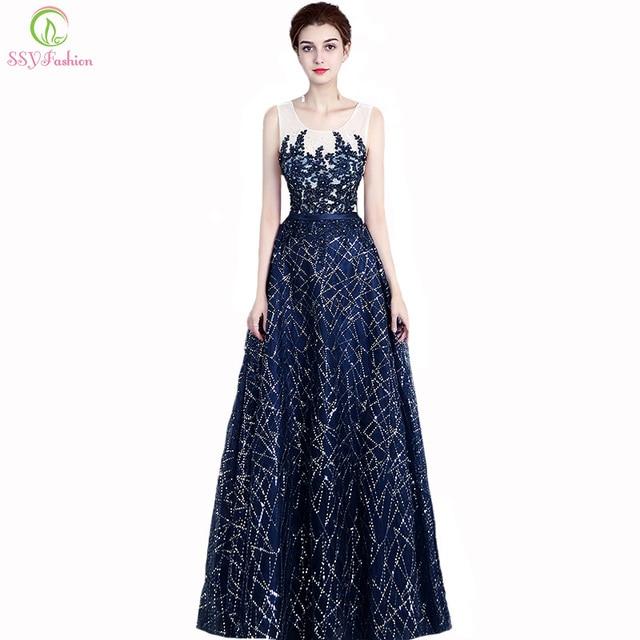 70331256b52 Ssyfashion новый элегантный Темно-синие Кружево Аппликации вечернее платье  без рукавов длиной до пола блестками