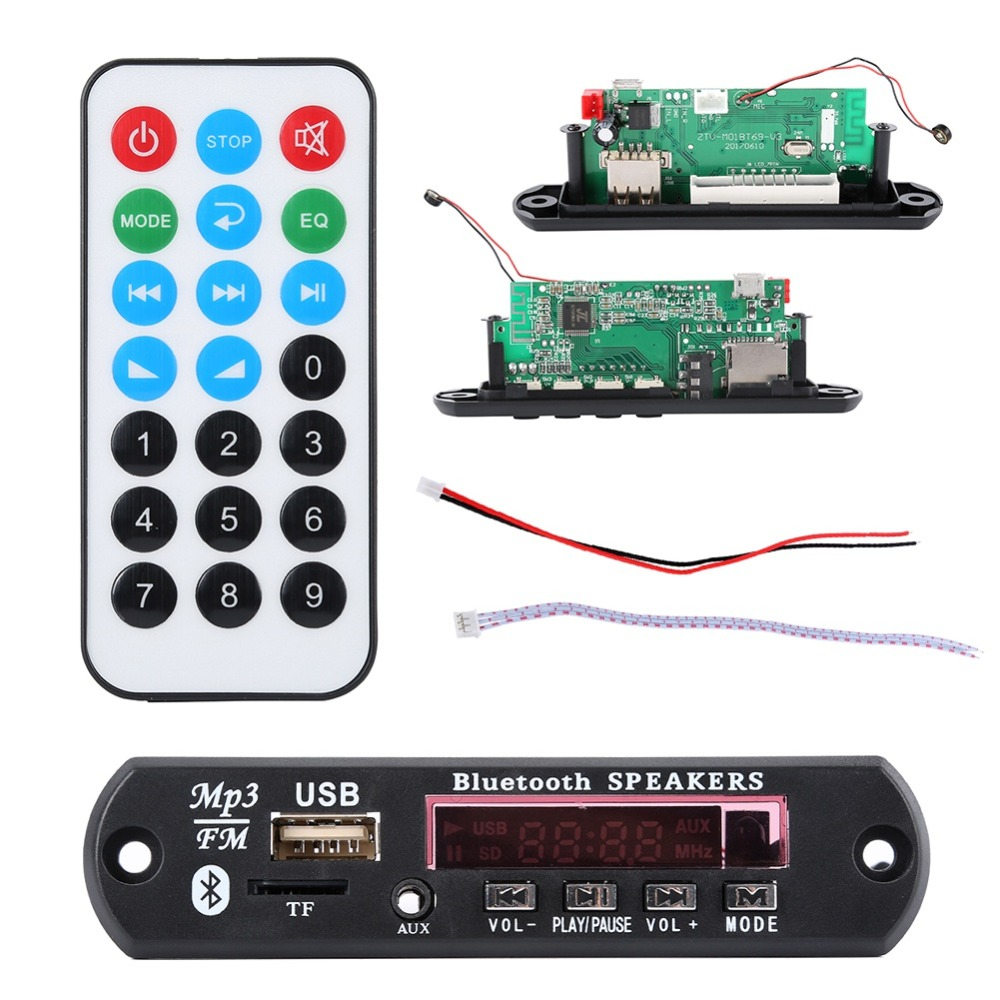 EDAL Wireless Bluetooth 12V 5V Micro USB MIC 3.5MM AUX FLAC MP3 WMA Decoder Board Audio Module USB TF Radio For Car