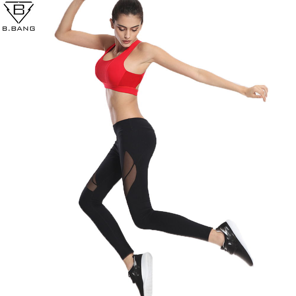 Prix pour B. bang femmes sport pantalon remise en forme yoga pantalon gym courir workout maille conception leggings rapide-séchage push up collants