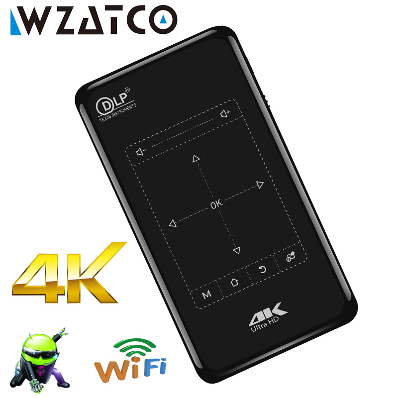 Alibaba グループ 上の WZATCO ミニプロジェクター 2 ギガバイト + 8 ギガバイトのアンドロイド無線 lan 、 5000 バッテリー、 BT4.1 ポータブル 3D プロジェクターサポート 4 18K 、 1080 1080P HDMI Proyector ビーマー 1