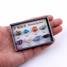 Multi Colors Rock Raw Collection 8pcs Mixed Natural Mineral Specimen Ore Specimens with Box Jewelry Sets For