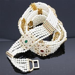 Image 3 - Luxuriant Women Bead Waist Chain Body Belly Chains Adjustable Length Jewelry India Bridal Nigeria Wedding Flower Pearl Belt 2018
