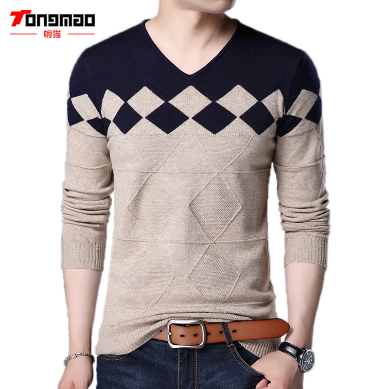 Fashion Mens Sweaters Autumn Mens Clothing Argyle Pattern Long Sleeve V-Neck Solid Mens Pullover Slim Fit Cotton Mens Sweaters