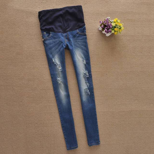 Popular Pregnant Women Jeans Maternity Belly Cover Denim Trouser Elastic Waist Trousers Gestantes Pregnancy Clothes