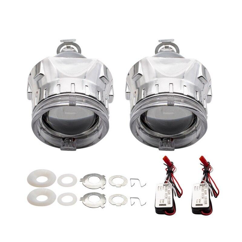 2.5 pouces bixenon projecteur lentille + masque linceul avec double ange yeux pour voiture HID phare projecteur lentille pour H1 H7 H4 - 2