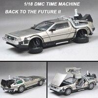 1/18 масштаб металлическая машина литья под давлением модель часть 1 2 3 машина времени делореан DMC 12 модель игрушки сварные обратно в будущее