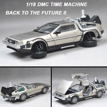 12 3 Fundición Metal De Escala Dmc 118 Modelo El Tiempo Juguete Parte Máquina 2 1 Futuro Delorean Coche Aleación P0On8kw