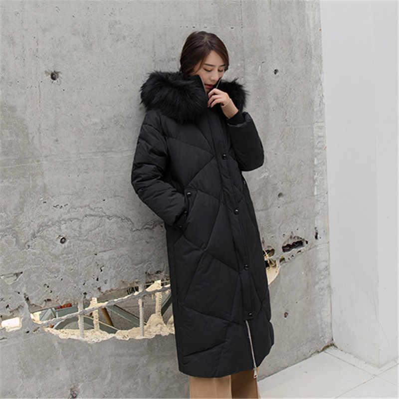 Женские зимние пуховики Длинные парки 2018 новые высококачественные женские теплые пальто с капюшоном с меховым воротником женское Inverno верхняя одежда NO771
