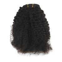 Brillo completo afro rizado Pelo Rizado Clips extensiones natural negro 7 unidades 100g Remy clip en extensiones del pelo para afroamericano