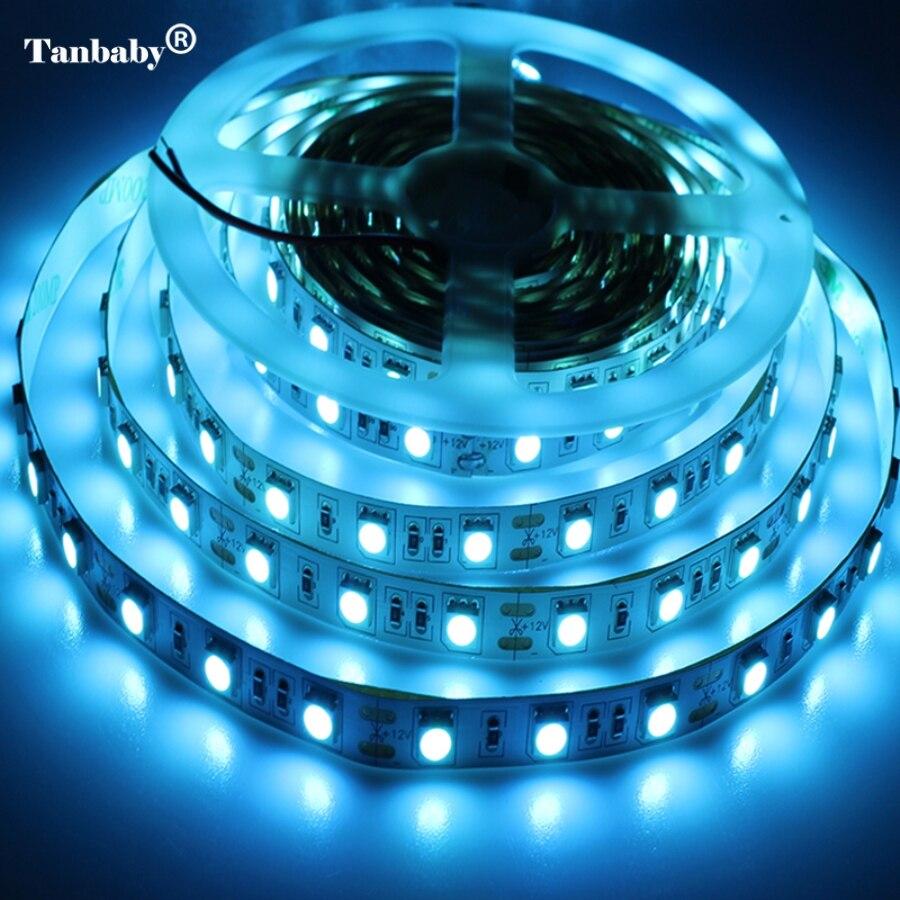 ead0c54b6bd Tanbaby 5050 ICE Blue LED luz de tira 300 LEDs 5 M DC 12 V ligera flexible  de la lámpara para navidad Año Nuevo vacaciones iluminación del hogar