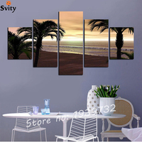 No Frame 5 Panel Blue Sky And Sunset Sea Landscape Print On Canvas Home Decor For