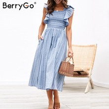 786db0ca8b1 BerryGo Vintage striped women dresses long dress Ruffle sleeve linen  elegant dresses Casual ruched fashion female vestidos 2019