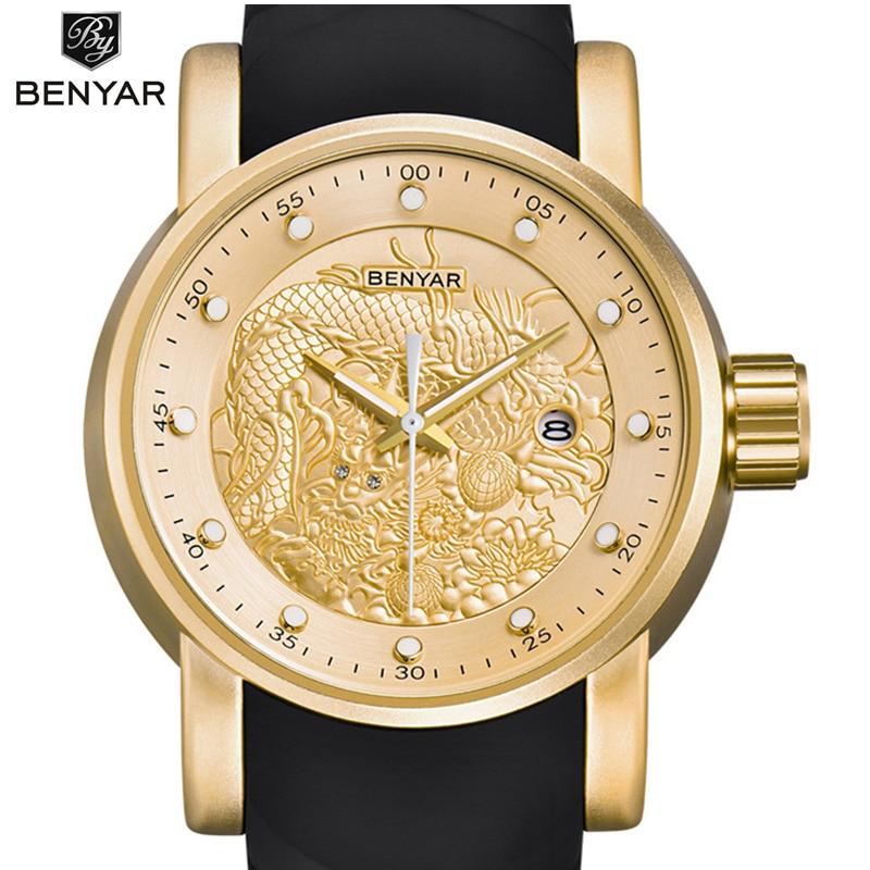 BENYAR Luxury Brand Dragon Sculpture Date Men's Quartz Watch 30M Waterproof Silicone Strap Fashion Watch Relogio Masculino