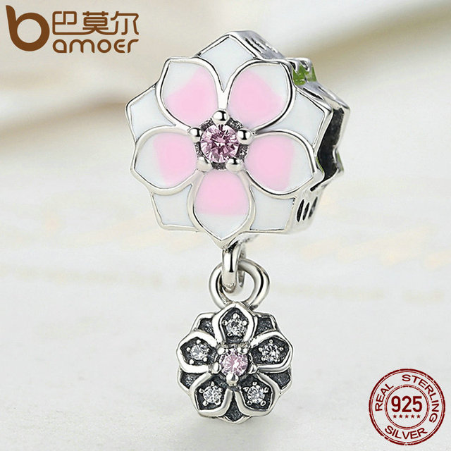 Sterling Silver Magnolia Bloom Pale Cerise Ename Charm