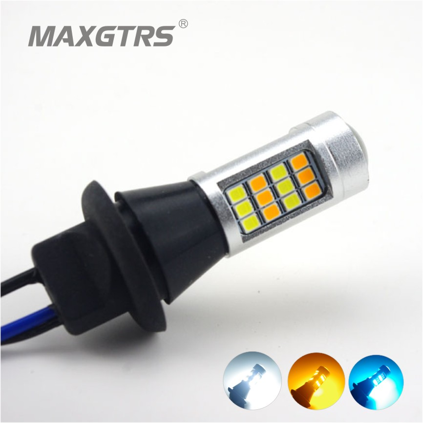 2x Car Dual Color 42SMD 2835 White/Ice Blue With Amber H8/H11 LED Bulbs DRL For Front Turning Signal Lights Car Light Source  splicing 2 light led blinders with 100w led cob x2 amber cold white color for audience blinding color warm