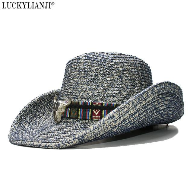 LUCKYLIANJI Women s Men s Unisex s Adjustable Soft Straw Wide Brim Sun Beach  Jazz Panama Cowboy Western Hat Fedora Leather Band 9543b56f1c87