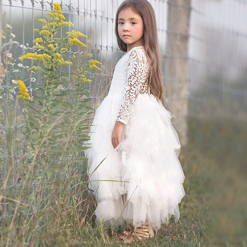 New Girls Lace Dress Flower Tiered Tulle Dress Long Sleeve Princess For Wedding Party Children Clothes 3-8Y Prom Gowns