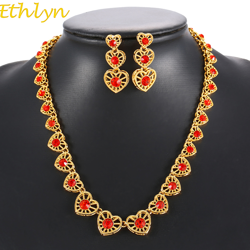 Ethlyn Top Quality Jewelry Sets For Women Gift Gold Color AAA Cubic Zirconia Romantic Love Heart