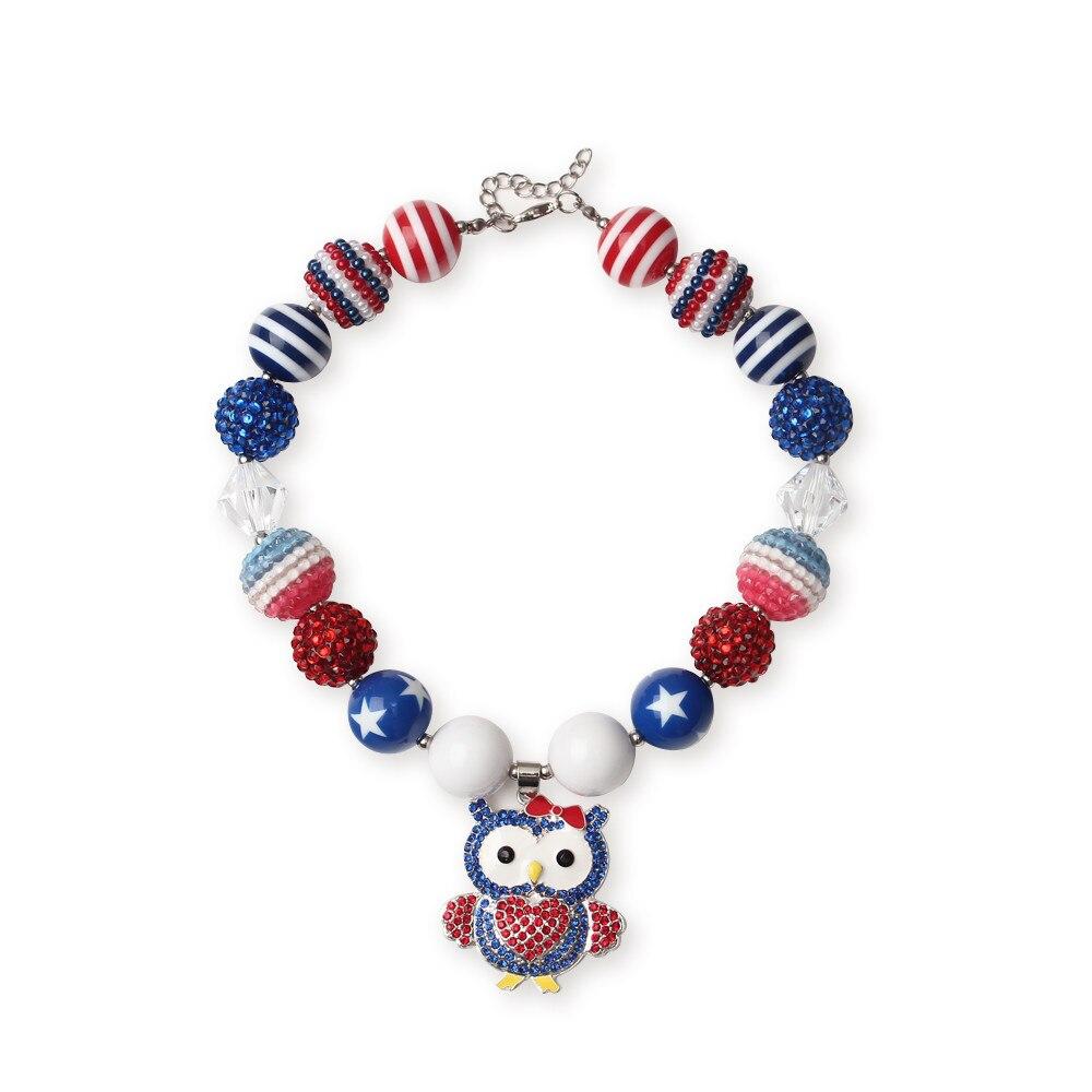 owl rhinestone pendant striped gumball bead necklace
