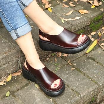Original summer new retro sponge cake leather women's sandals leather wild set foot wedges platform sandals women