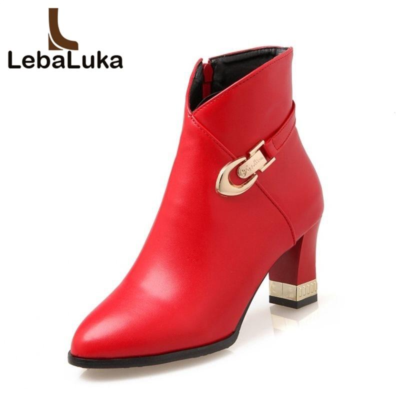 rouge 46 Noir Zipper À Footwears Dames Boucle ivoire Matal Lady Lebaluka Partie Cheville Sexy Mode Femmes Bottes 32 Hauts Boot Robe Taille Talons Rencontre 41qEg