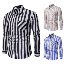 2019 New Men Black and White Striped Shirt Casual Slim Fit Button Down Shirs Men Long Sleeve Business Shirt With Pocket button down long sleeve pocket shirt