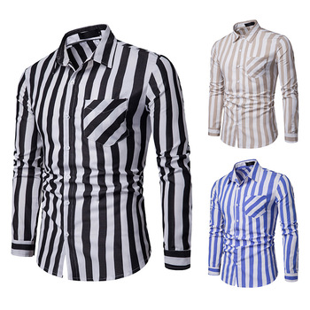 2019 New Men Black and White Striped Shirt Casual Slim Fit Button Down Shirs Men Long Sleeve Business Shirt With Pocket striped long shirt with chest pocket