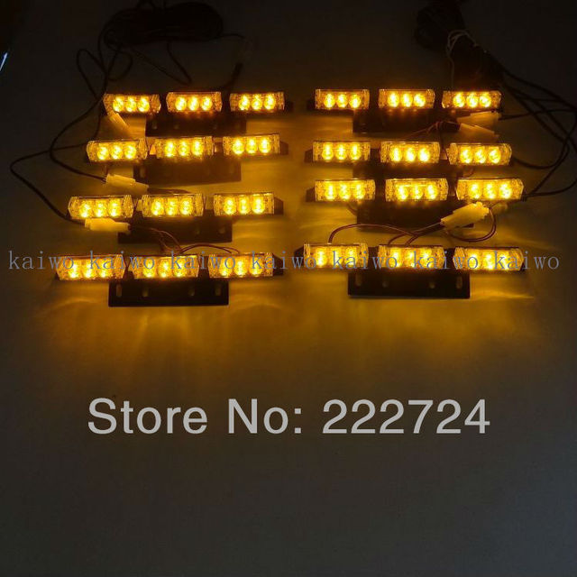 Bar lights 8*9 72 LED Amber Warning Blinking Strobe Flash Light/Lightbar Deck Dash Grille LED EMERGENCY STROBE LIGHTS 3 Mode 12V