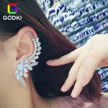 GODKI Asymmetry Women Engagement Bridal Earrings 스터드 쥬얼리 파티 선물