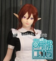 (KM91830)Super Quality Handmade Female Resin Half Face Long Ears Elf Mask Cosplay Kigurumi Mask Crossdresser Doll