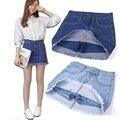 Mujeres del verano forman nuevos femeninos del dril de algodón de cintura alta un paquete Hip falda Shorts Culottes