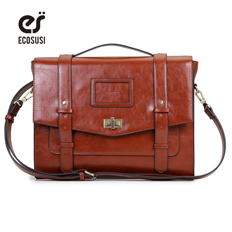 ECOSUSI New Design Women Messenger Bags Vintage PU Leather Handbag Crossbody Satchel Briefcase Bolsas Femininas for 14.7 Laptop