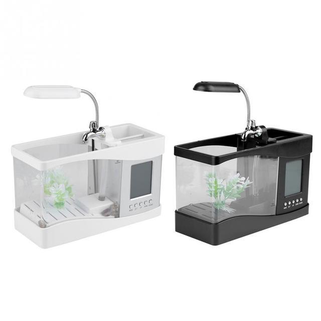 Usb Mini Betta Fish Tank Turtle With Clock Temperature Function 2